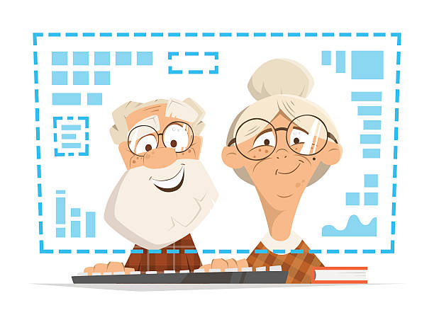 old man woman sitting computer monitor online people education - old man computer silhouette stock illustrations, clip art, cartoons, & icons