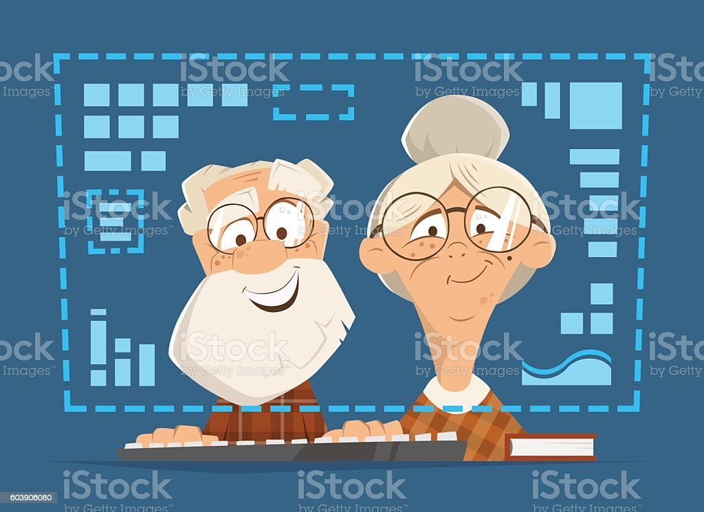 Old man woman sitting computer monitor Online people education vector art illustration