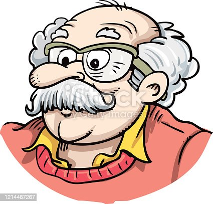 Old man's face with glasses