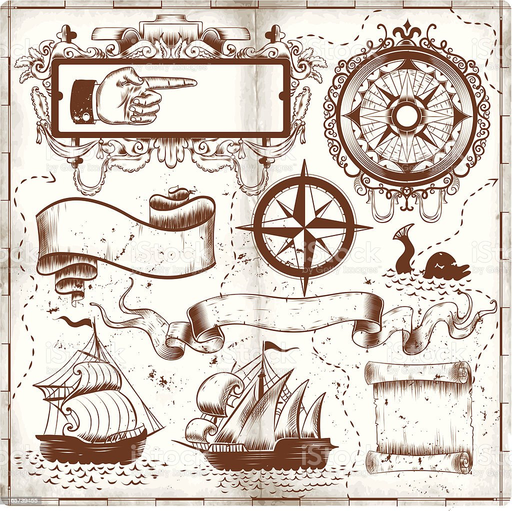 O mapa e Rabiscos - ilustração de arte em vetor