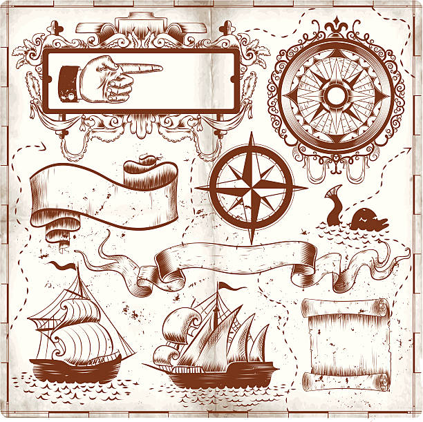 old map doodles - treasure map backgrounds stock illustrations