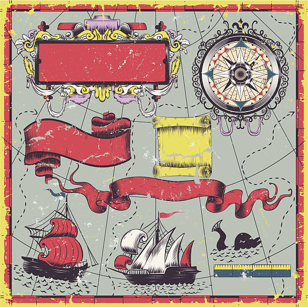 old map elements - treasure map backgrounds stock illustrations