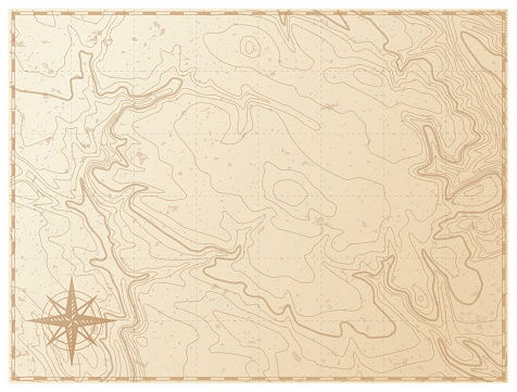 Old map isolated on white background