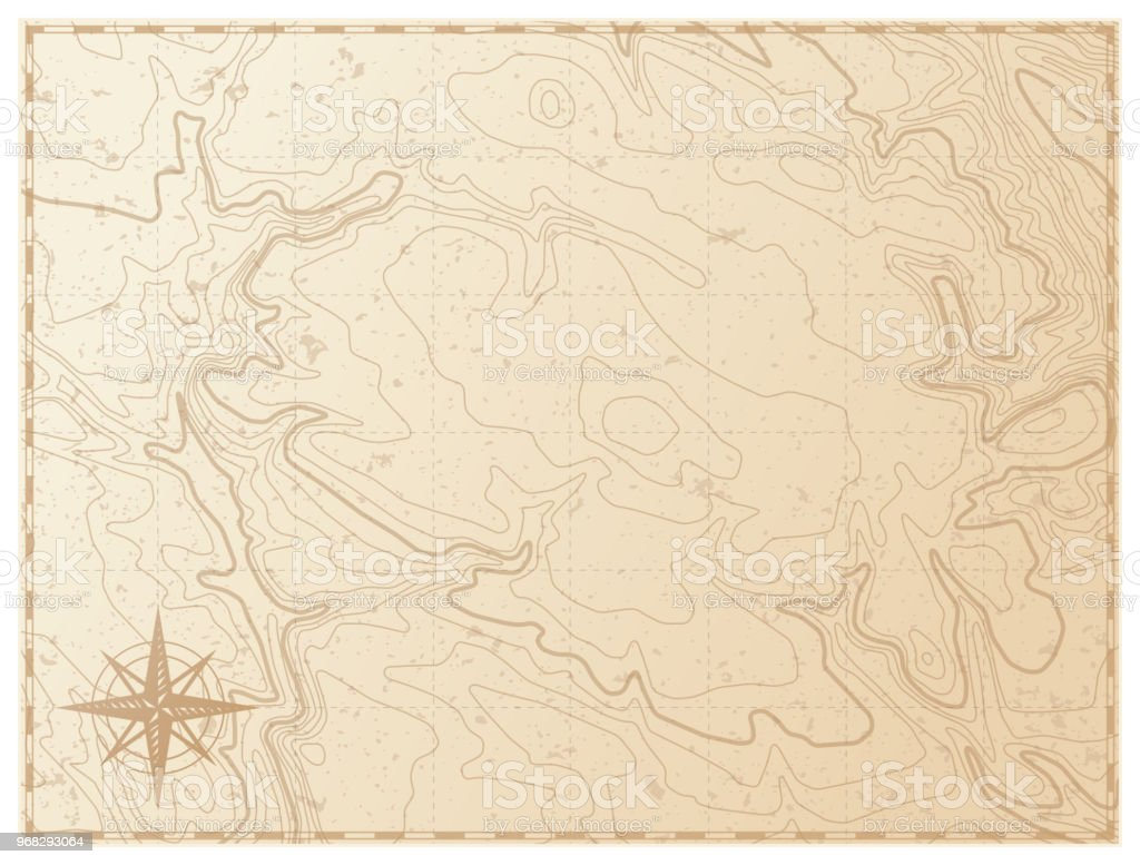 Old map isolated on white background vector art illustration