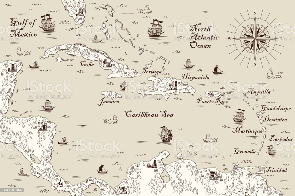 Old map of the Caribbean Sea, Vector illustration vector art illustration