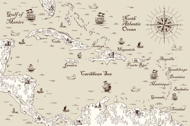 old map of the caribbean sea, vector illustration - pirates stock illustrations, clip art, cartoons, & icons