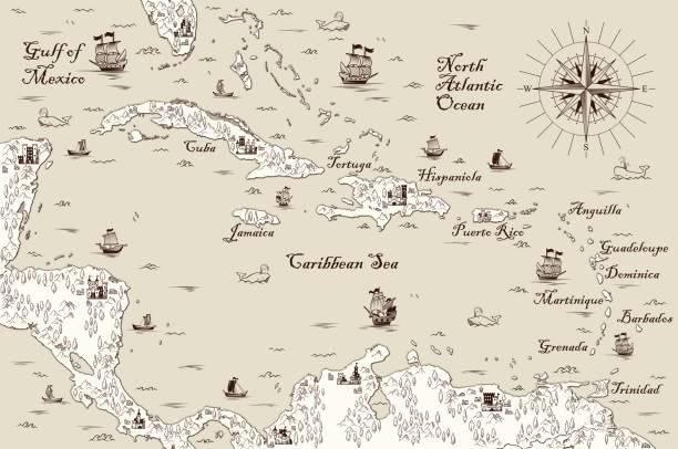 illustrations, cliparts, dessins animés et icônes de ancienne carte de la mer des caraïbes, illustration vectorielle - cartes au trésor