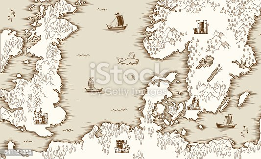 istock Old map of the North Sea, Britain and Scandinavia, vector illustration 841151358