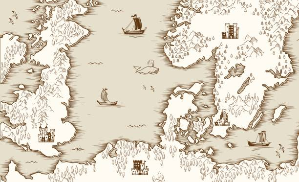 illustrations, cliparts, dessins animés et icônes de ancienne carte de la mer du nord, la grande-bretagne et la scandinavie, illustration vectorielle - cartes au trésor