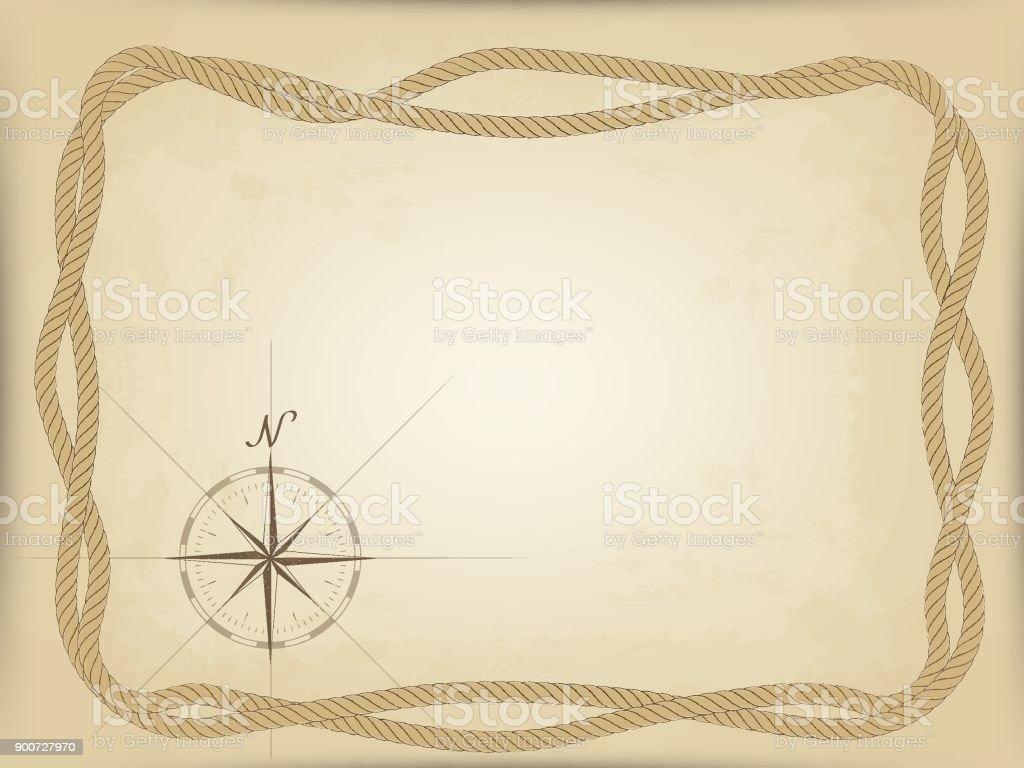 Alte Karte Auf Pergament Vektor Kompassgrafik Aus Dem Rand Rahmen ...