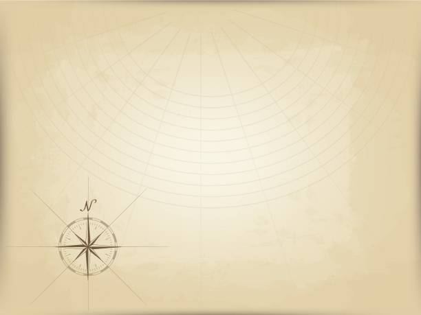 old map on parchment. vector. compass graphic from the edge. navigation markup vector art illustration
