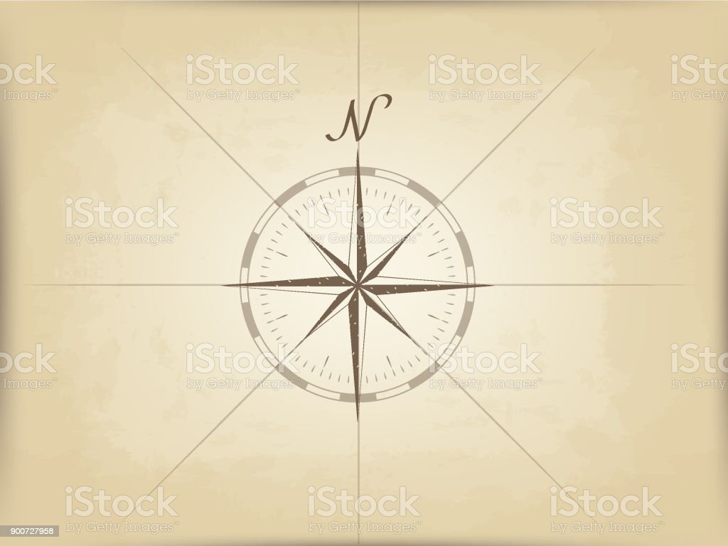 Old Map On Parchment Vector The Compass Design In The Center
