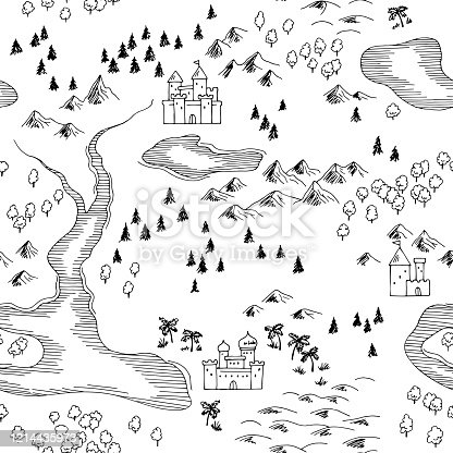 Old map retro graphic black white seamless pattern background sketch illustration vector