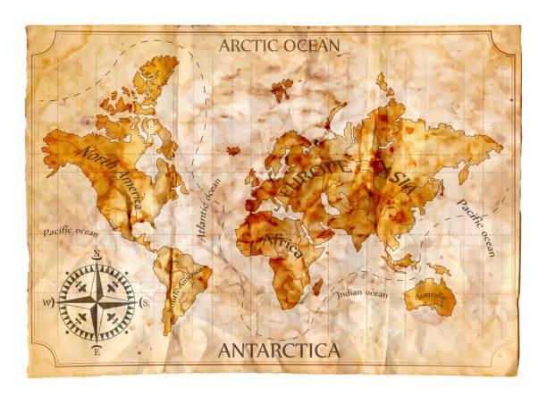 bildbanksillustrationer, clip art samt tecknat material och ikoner med old map - ancient white background