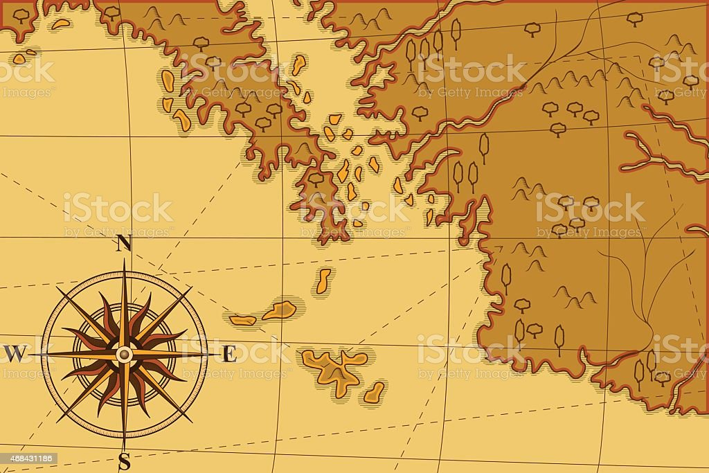 old map with a compass and trees vector art illustration