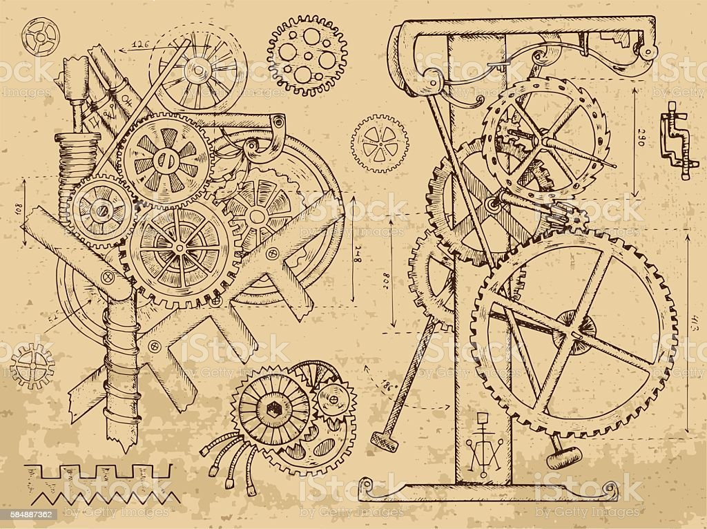 Old mechanisms and machines in steampunk style vector art illustration