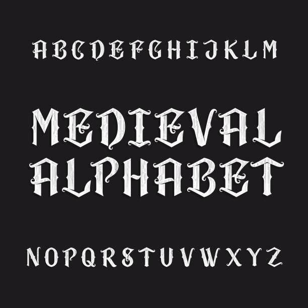 eski ortaçağ alfabe vektör yazı tipi - ortaçağ stock illustrations