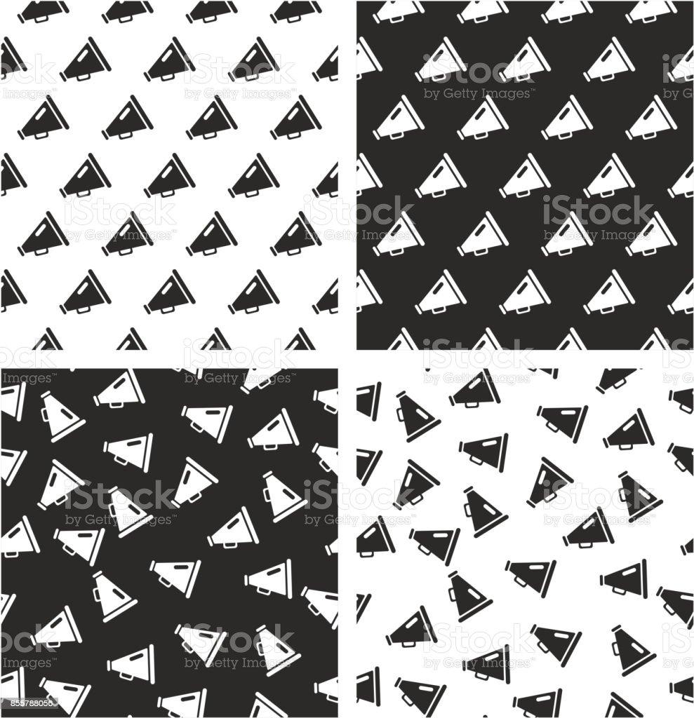 Old Megaphone Aligned & Random Seamless Pattern Set vector art illustration