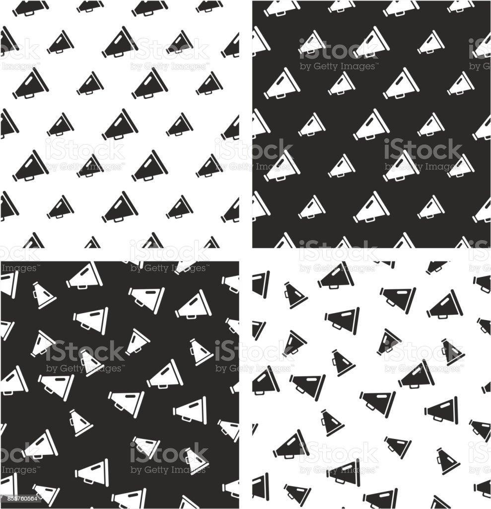 Old Megaphone Big & Small Aligned & Random Seamless Pattern Set vector art illustration