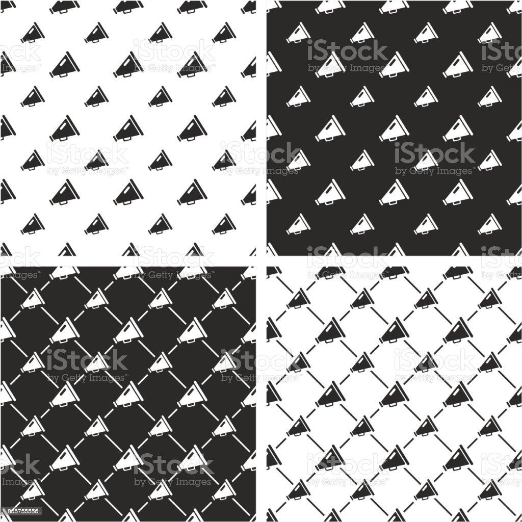 Old Megaphone Big & Small Seamless Pattern Set vector art illustration