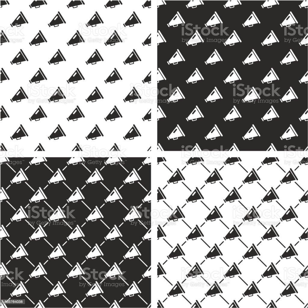 Old Megaphone Seamless Pattern Set vector art illustration