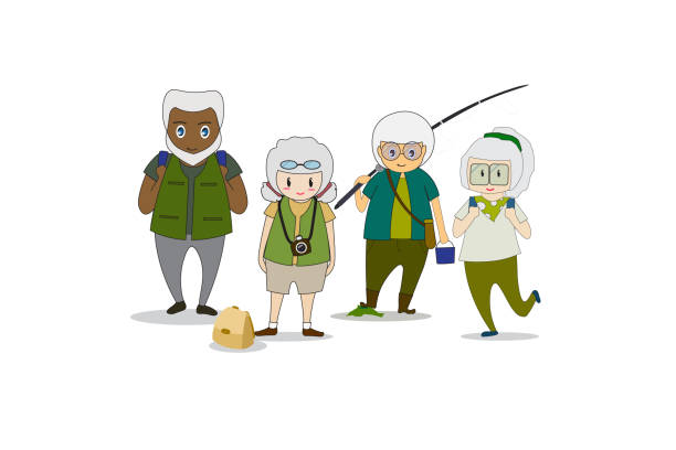 old men and women healthy body doing outdoor activities ,walk in the forest ,fishing and nature photography. - old man photo pictures stock illustrations, clip art, cartoons, & icons
