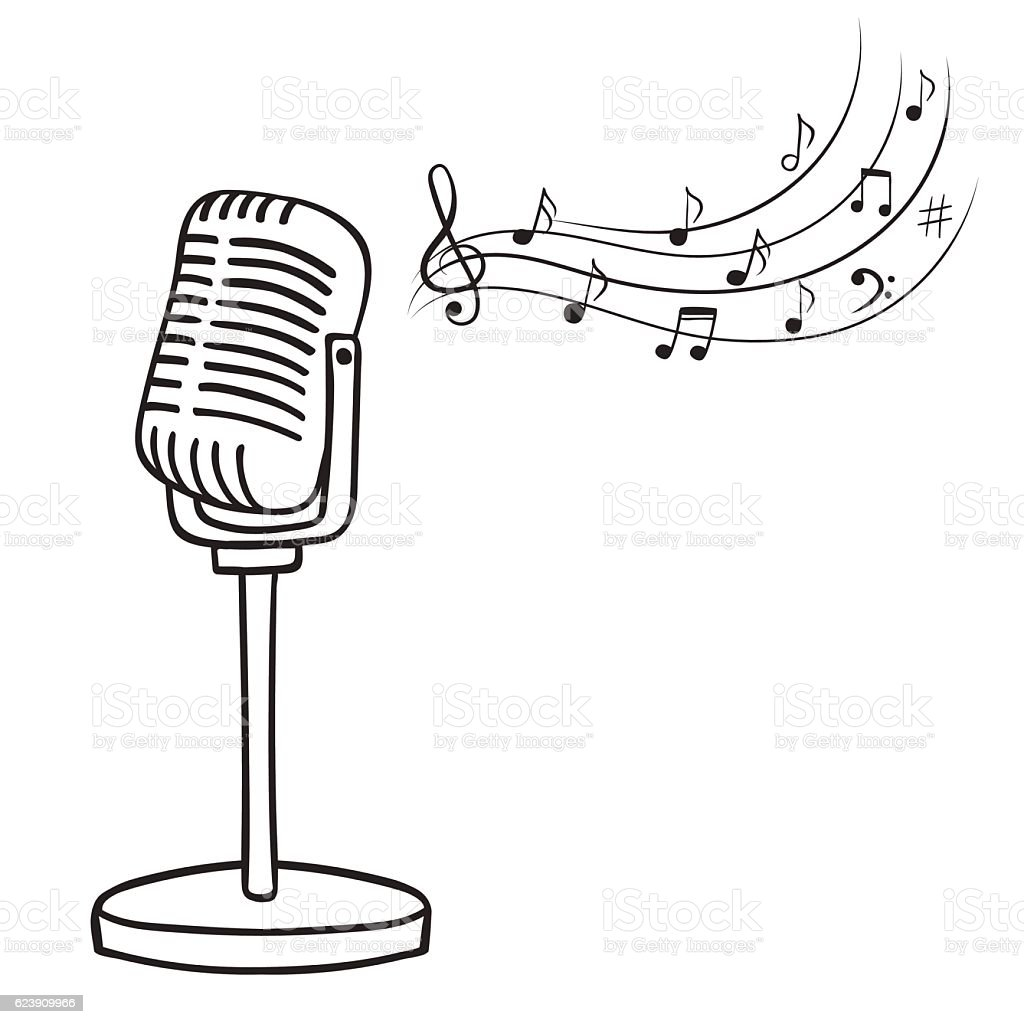 old microphone and music notes vector stock vector art