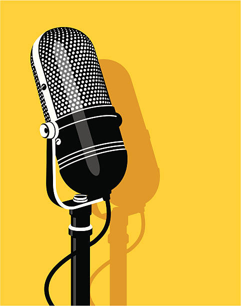 Old microphone Old microphone on yellow background radio stock illustrations
