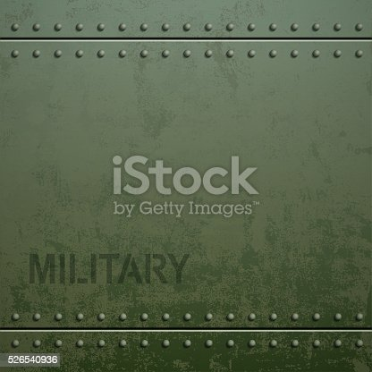 istock Old military armor texture with rivets. Metal background. 526540936