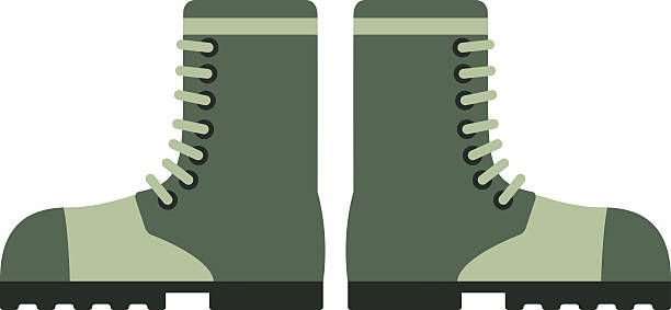 old military boots leather combat soldier footwear vector illustration - postal worker stock illustrations