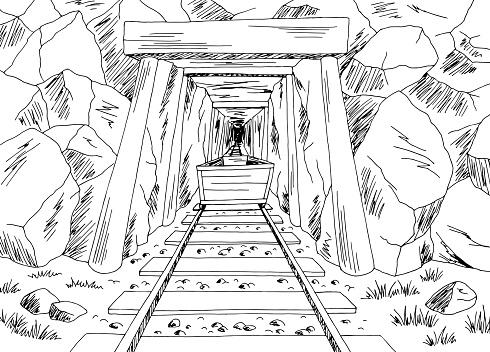 Old mine graphic black white landscape sketch illustration vector