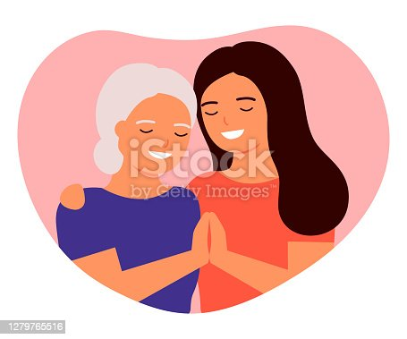 Old mother and adult daughter are hugging. Family love, taking care of grandmother. Mother s day concept. Family understanding, consent, support. Vector illustration