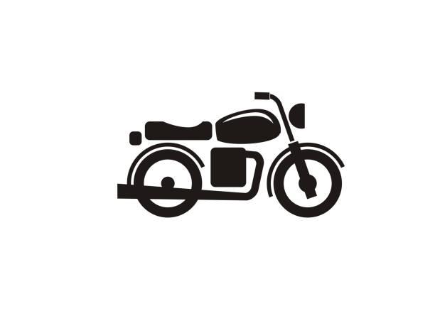 ilustrações, clipart, desenhos animados e ícones de ícone preto simples da motocicleta velha - moto