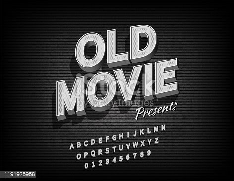 Old movie alphabet with grunge textured background for video or film, Vector EPS10
