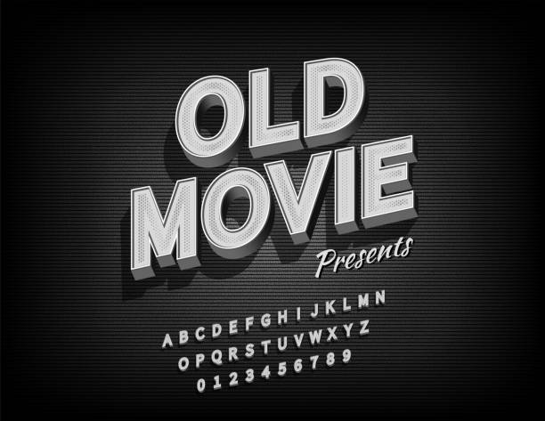 舊電影字母與grunge紋理背景的視頻或電影,向量 - 鄉愁 幅插畫檔、美工圖案、卡通及圖標
