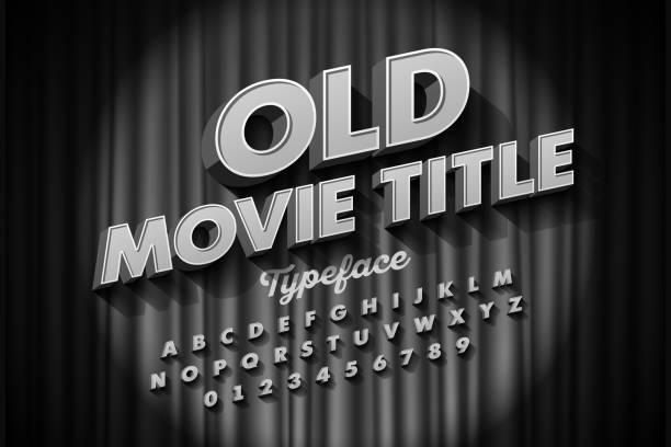 Old Movie title font vector art illustration