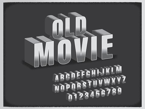 Old Movie title screen font alphabet set