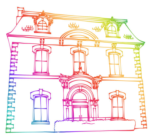 Alte Stadthalle Regenbogen Zeichnung – Vektorgrafik