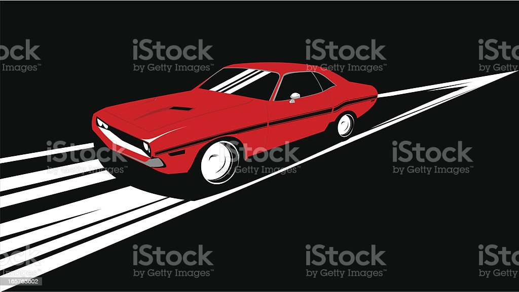 Old Muscle Car Running Over Track Stock Vector Art & More Images of ...
