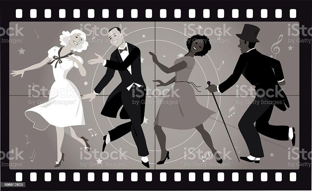 Old musical movie vector art illustration