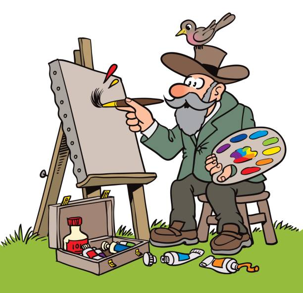 old nature painter cartoon - old man picture pictures stock illustrations, clip art, cartoons, & icons