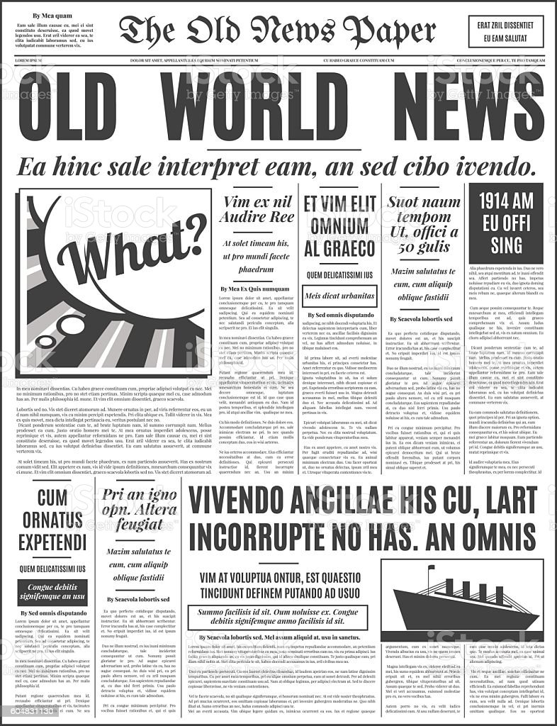 Old Newspaper Design Vector Template Stock Vector Art More Images