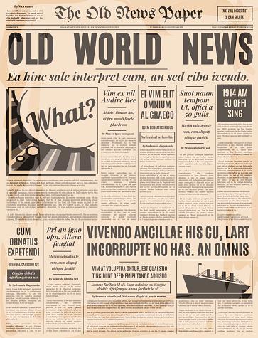 Old Newspaper Design Vector Template Stock Illustration ...