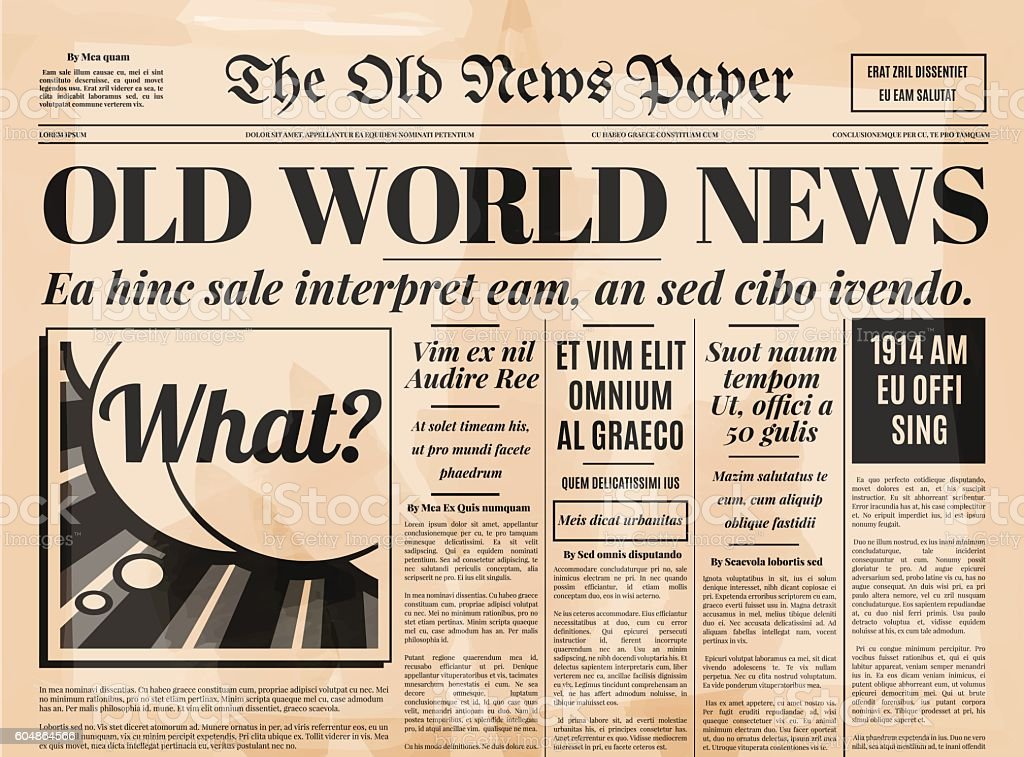 Old newspaper design vector template. vector art illustration