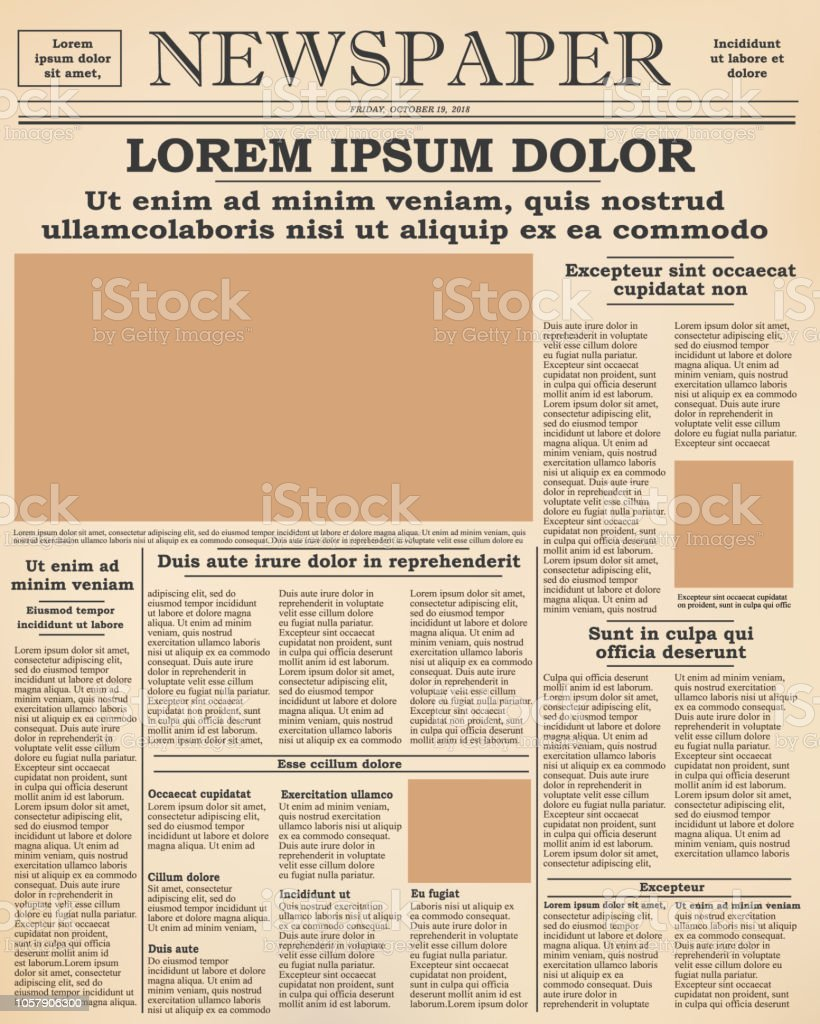 old newspaper front page stock illustration - download image now