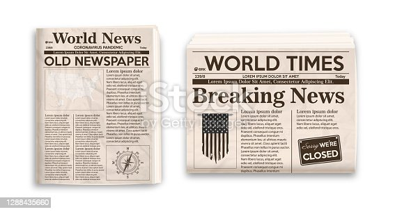 istock Old newspaper layout. Vertical and horizontal mockup of newspapers isolated on white background. 1288435660
