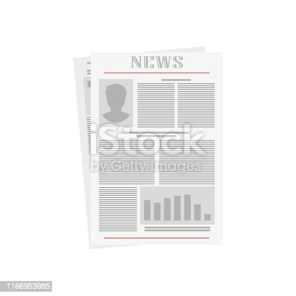 old newspaper on white background, vector illustration in flat