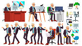 Old Office Worker Vector. Face Emotions, Various Gestures. Business Man. Professional Cabinet Workman, Officer, Clerk. Isolated Cartoon Character Illustration