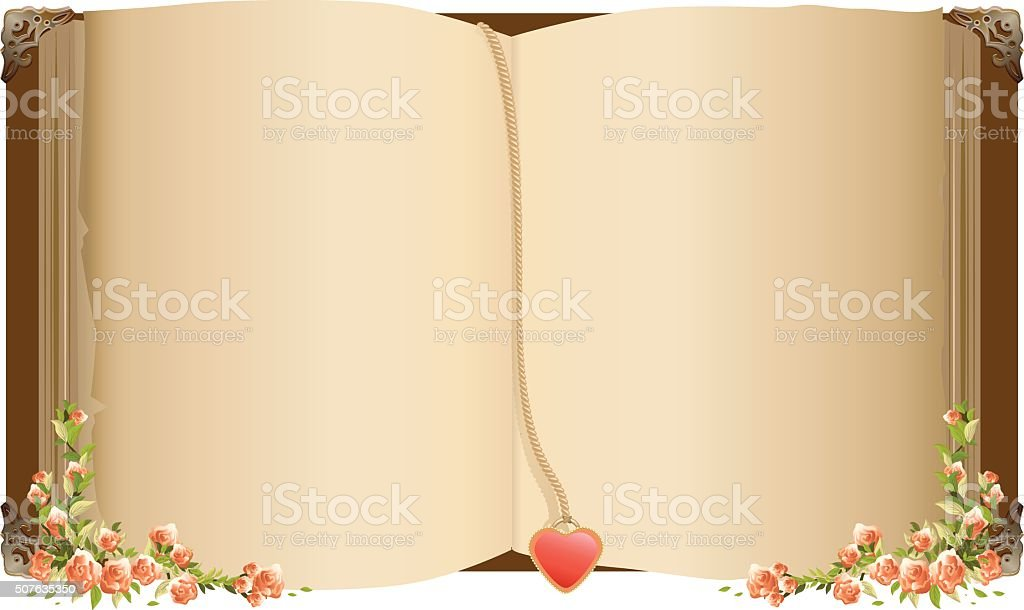 Alte offenes Buch mit Lesezeichen in Herzform – Vektorgrafik