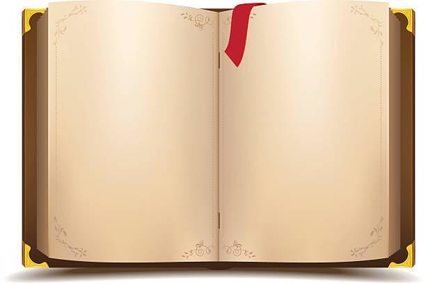 ilustrações, clipart, desenhos animados e ícones de velho livro aberto magic - aberto